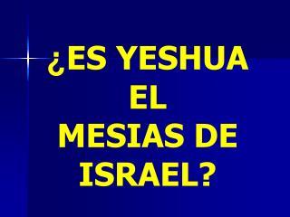 ¿ ES YESHUA   EL  MESIAS DE ISRAEL?