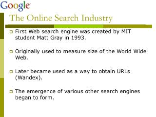 The Online Search Industry