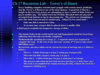 Ch 17 Recursion Lab – Tower's of Hanoi
