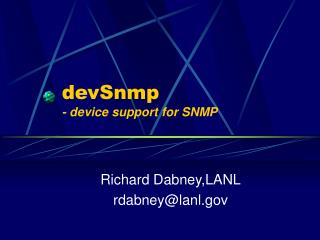devSnmp - device support for SNMP