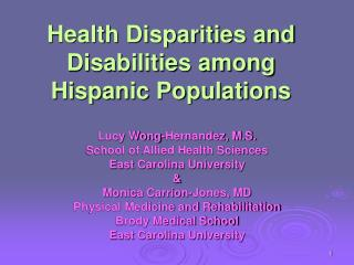 Health Disparities and Disabilities among Hispanic Populations