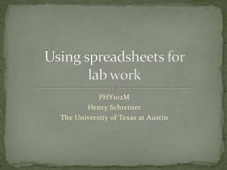 Using spreadsheets for lab work