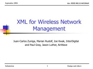 XML for Wireless Network Management