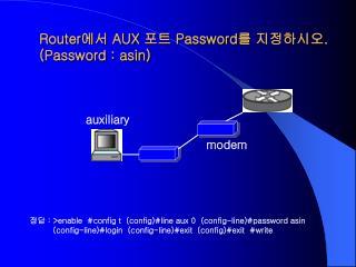Router 에서  AUX  포트  Password 를 지정하시오 . (Password : asin)
