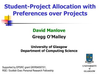 Student-Project Allocation with Preferences over Projects