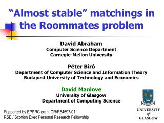 """Almost stable"" matchings in the Roommates problem"