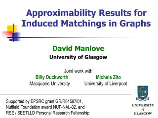 Approximability Results for Induced Matchings in Graphs