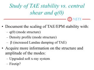 Study of TAE stability vs. central shear and q(0)