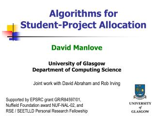 Algorithms for  Student-Project Allocation