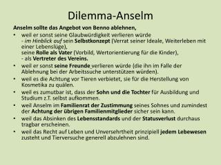 Dilemma-Anselm