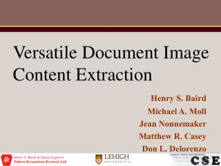 Versatile Document Image Content Extraction