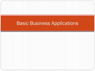 Basic Business Applications
