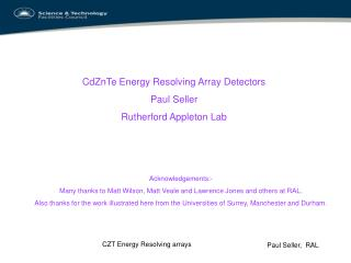 CZT Energy Resolving arrays