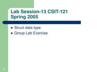 Lab Session-13 CSIT-121  Spring 2005