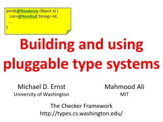 Building and using pluggable type systems