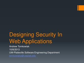 Designing Security  In Web  Applications