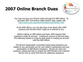 2007 Online Branch Dues
