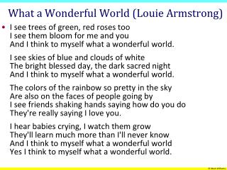 What a Wonderful World (Louie Armstrong)