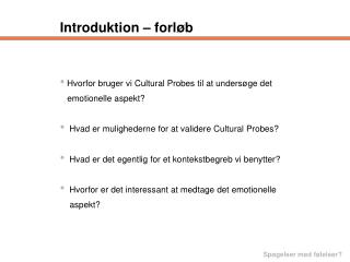 Introduktion – forløb
