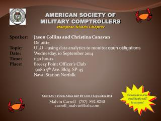 AMERICAN SOCIETY OF MILITARY COMPTROLLERS Hampton Roads Chapter
