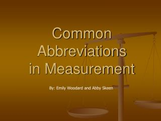 Common Abbreviations in Measurement