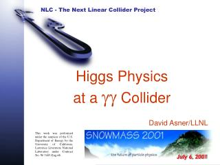 Higgs Physics at a  gg  Collider