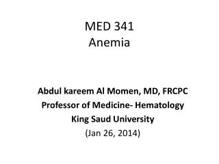 MED 341 Anemia