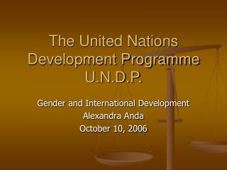 The United Nations Development Programme U.N.D.P.