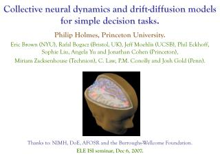 Collective neural dynamics and drift-diffusion models for simple decision tasks.
