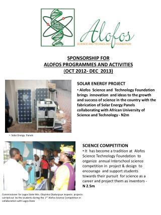 SPONSORSHIP FOR  ALOFOS PROGRAMMES AND ACTIVITIES ( OCT 2012- DEC  2013)
