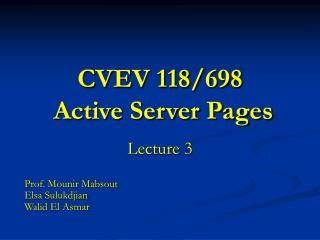 CVEV 118/698 Active Server Pages