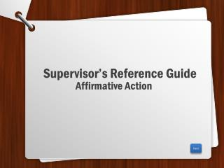 Supervisor's Reference Guide
