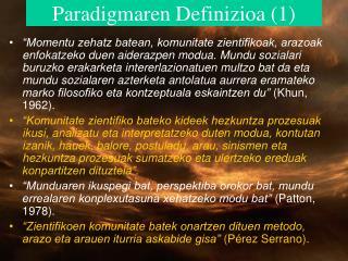 Paradigmaren Definizioa (1)