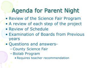 Agenda for Parent Night