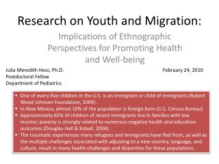 Research on Youth and Migration: