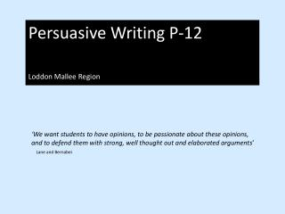 Persuasive Writing P-12