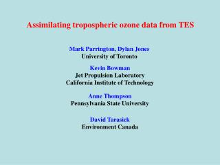 Assimilating tropospheric ozone data from TES