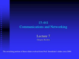 15-441  Communications and Networking