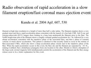 Kundu et al. 2004 ApJ, 607, 530