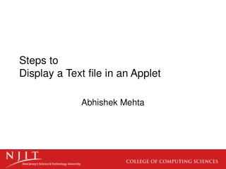 Steps to  Display a Text file in an Applet