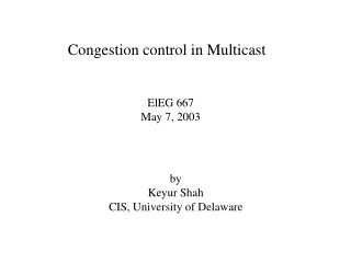 Congestion control in Multicast