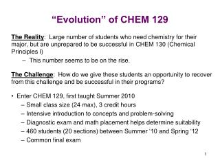 """Evolution"" of CHEM 129"