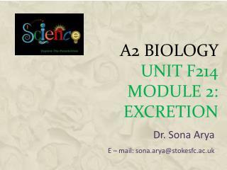 A2 Biology Unit F214 Module 2: EXCRETION