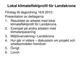 Lokal klimateffektprofil för Landskrona