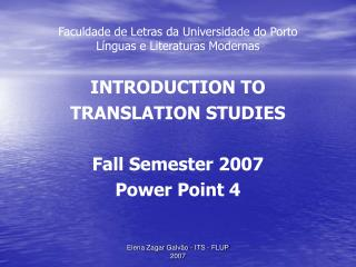 Faculdade de Letras da Universidade do Porto Línguas e Literaturas Modernas