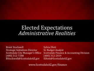 Elected Expectations Administrative Realities