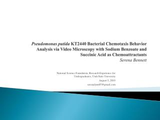 Pseudomonas putida KT2440 Bacterial Chemotaxis Behavior  Analysis via Video Microscopy with Sodium Benzoate and  Succini