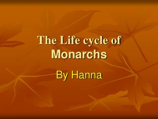 The Life cycle of Monarchs