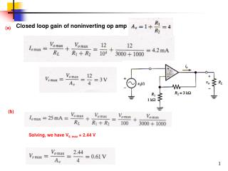 Closed loop gain of noninverting op amp