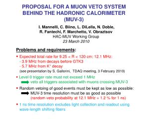 PROPOSAL FOR A MUON VETO SYSTEM BEHIND THE HADRONIC CALORIMETER (MUV-3)